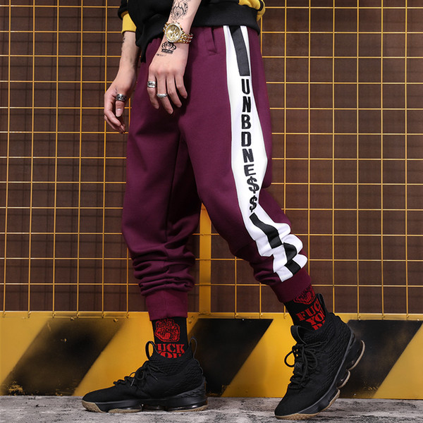 Original tide brand men's leg dance, long pant letter printing, casual pants