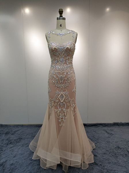 JN2299 Evening Dresses Luxury Bride Dresses Lace Hand Made Bead Wedding Gown Party Dress Sexy Prom Elegant Formal Pretty Long Dress