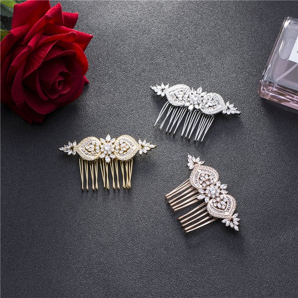 comb SLBRIDAL Luxury Prong Setting Vintage Clear Cubic Zirconia Wedding Comb Bridal CZ Headpiece Hair accessories Bridesmaids