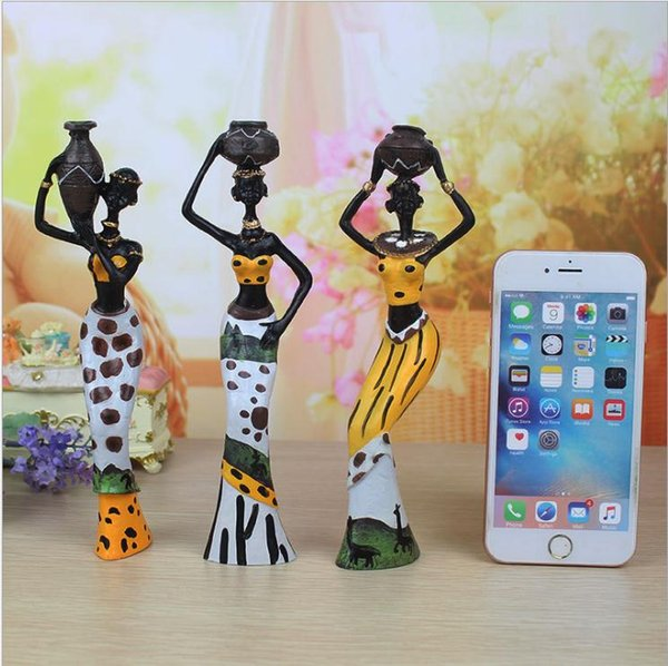 New 3PCS African Lady With Vase Ornament Ethnic Statue Sculptures National Culture Table Figurine Home Decor Crafts Gifts
