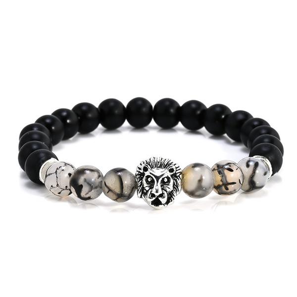 Natural Matte Black Silver Lion Head Buddhist Buddha Meditation Beads Bracelets Jewelry Prayer Bead Bracelet Free Shipping G105S