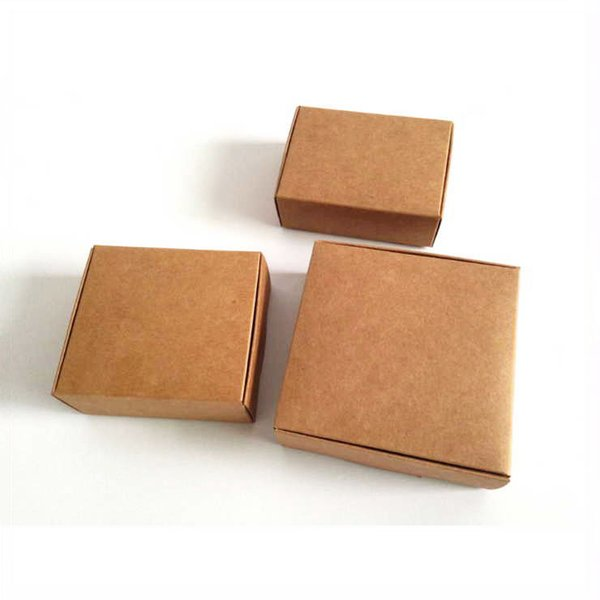 30pcs / lot brun Kraft papier boîtes de bonbons boîte de bonbons pour la main savon savon emballage cadeau de fête boîtes 500gsm carré 9/30