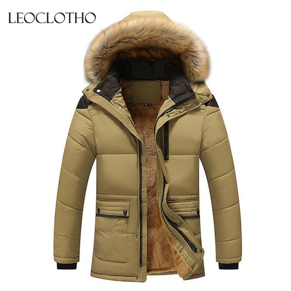 LEOCLOTHO parka men mens fur jackets Hat Detachable Warm Coat Casual Men's Coat Winter Jacket Men