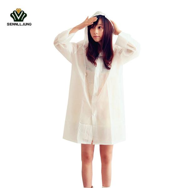 SENNLLJUNG Fashion Transparent Frosted Raincoat For Women Waterproof Coat Girls Rainwear Outdoor Hiking Rain Coat Travel Poncho