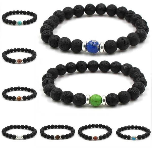 10 Colors Essential Oil Perfume Diffuser Bracelets 8mm Natural Lava Stone Bracelet Tiger's Eye Beads Bracelet Stretch Bangle Jewelry G113SF