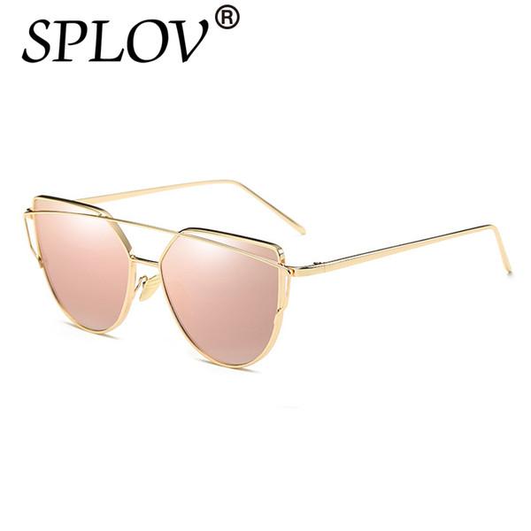 79555cd9e SPLOV 2018 Fashion Cat Eye Sunglasses Women Brand Designer Mirror Sun  Glasses Vintage Rose Gold Female