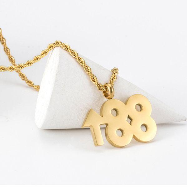 Collana digitale Beichong Hip Hop 88 pendente in aumento Collana in acciaio inossidabile con catena in acciaio inossidabile oro per gioielli da donna