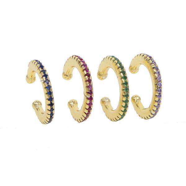 925 ayar gümüş takı basit yuvarlak daire manşet renkli cz kaplamalı yeşil mavi kırmızı mor Altın kaplama hiçbir piercing manşet küpe