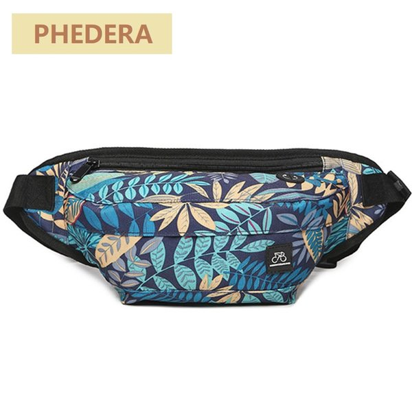 Fashion Men Waist Bags Leaves Pattern 2018 New Multifunction Fanny Bag for Men Patchwork Belt Bags Small Phone Bag KB31