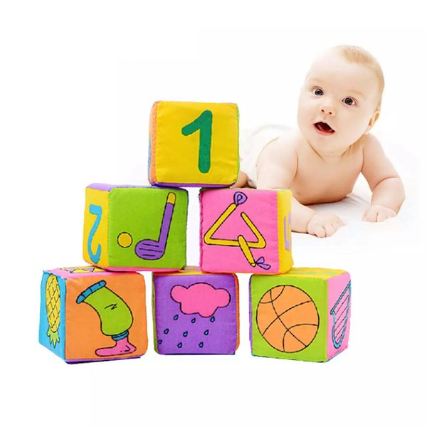 6pcs/set Baby Soft Rattle Block Toy Portable Infant Cloth Building Blocks Educational Toys Square Plush Rattle Bell Kids Party Favor AAA1266