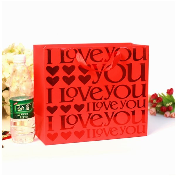 100pcs Chinese Traditional Red Double Happiness Wedding Gift Paper Bag Portable Candy Bags 25*9.4*19cm lin4035