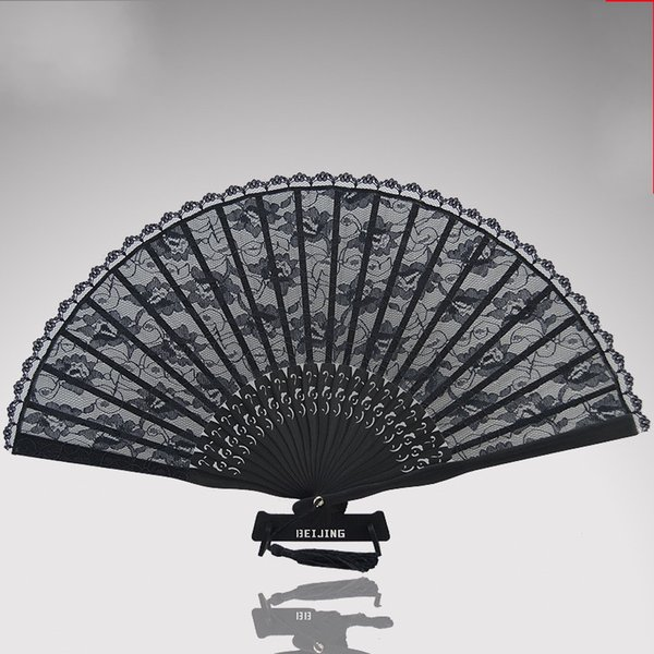 Black Antiquity Cheongsam Real Silk Lace Fold Fans Hand Round Fan Dance Wedding Favors For Guest Gifts Arts And Crafts15mg gg