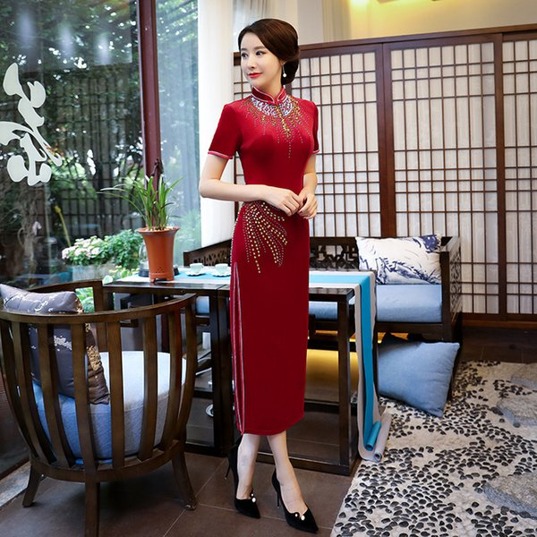 Red Velvet Fashion Traditional Chinese Dress Womens China Style Evening Dresses Woman Wedding Cheongsam Modern Qipao Long Formal