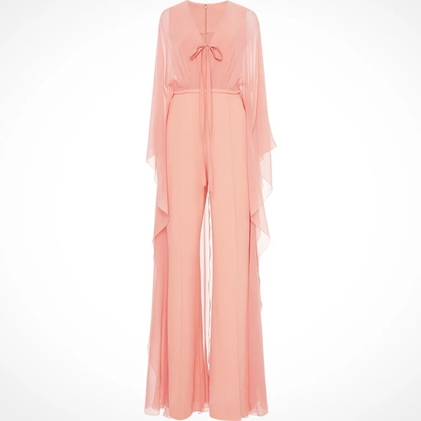 Blush Pink V-Neck Floor Length Sexy Jumpsuit Chiffon 2018 New Arrival Custom Made Classic Evening Apparel