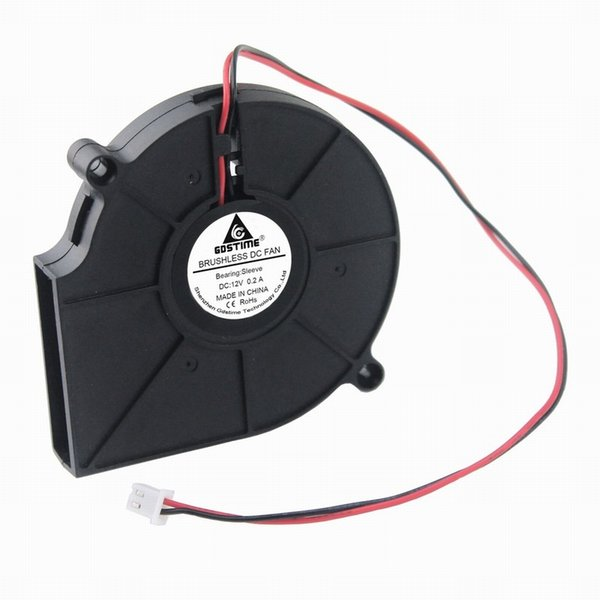 blower fan Gdstime 1 Pcs DC 12 Volt 2 Wires 7.5cm Brushless Cooling Radiator 12V Exhaust Blower Fan 75mm x 15mm