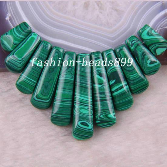 Nuevo sin etiquetas Joyería de moda Piedra Natural Verde Malaquita Colgante de Cuentas 11 Unids Set RK685
