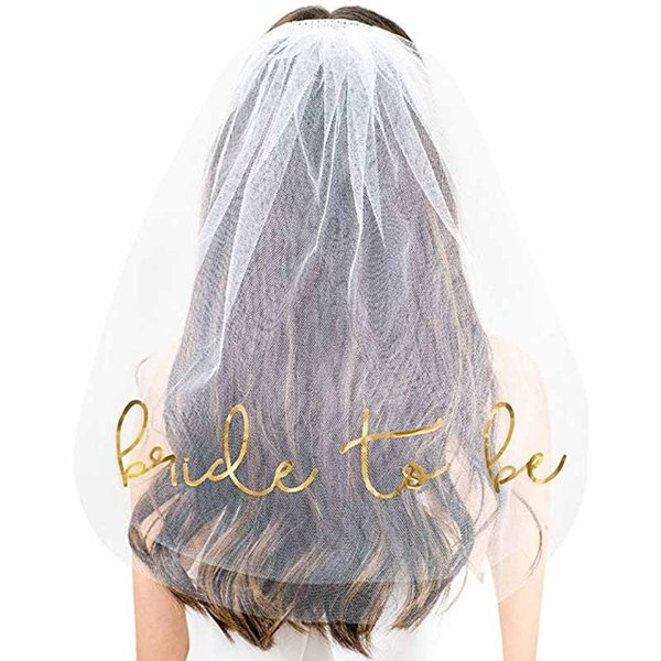 Wedding Bridal Shower Decor White short Veil with Comb girls Hen Night Party gold Bride To Be Bachelorette Bridesmaid Photo Prop