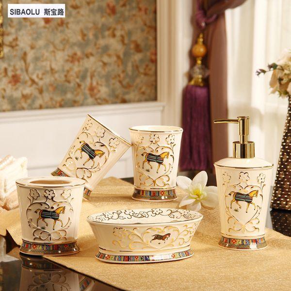 Großhandel Bad Set Keramik Seifenspender Set Zahnbürstenhalter Seifenhalter  Zahnbürstenhalter Seifenschale Dekoration Zubehör Von Bananain, $268.51 ...
