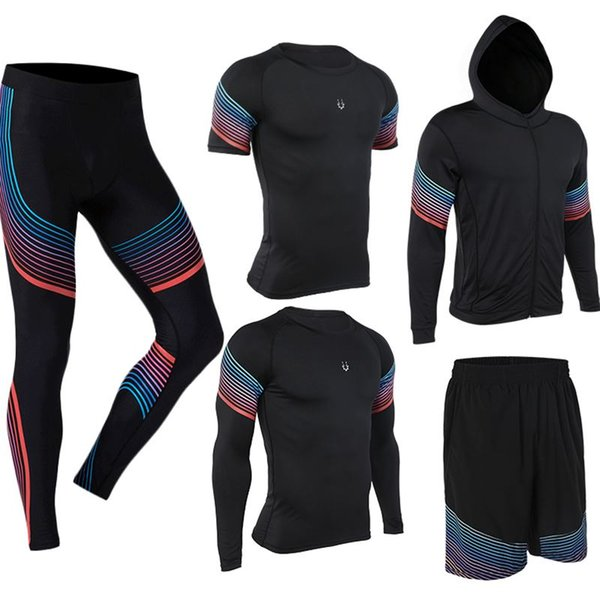 Vansydical Mens Running Suits Compression Tights Shirt Hooded Fitnessorts 5pcs Set Tracksuits Gym Jogging Men Running Sportswear