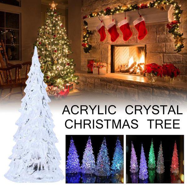 Wholesale colorful acrylic crystal Christmas tree flashing light night small Christmas tree Home Mall Festival decoration 1pc