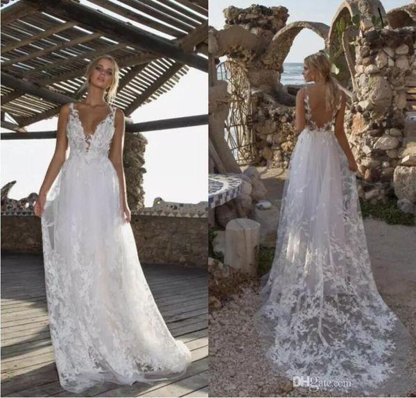 Limor Rosen 2019 Wedding Dress Beach A Line With Lace Applique Bridal Gowns Straps V Neck Backless Vestidos De Novia