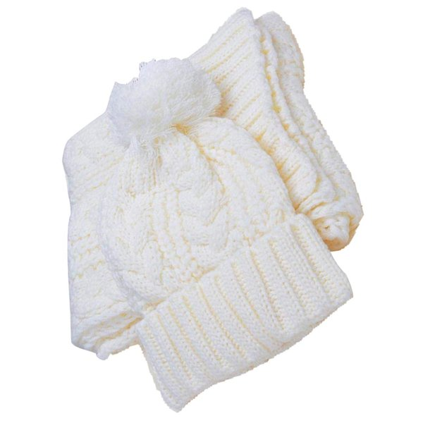 Women's Winter Cap Knit Scarf Set White red gray black