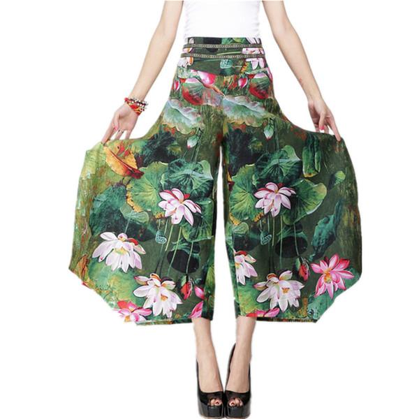 2018 Summer Palazzo Pants Women Cotton Linen Vintage Bottom Pantalon Femme Clothes Elegant Trousers Ethnic Casual Wide Leg Pants D1892605