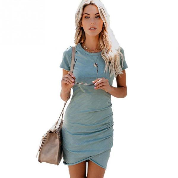 Mulheres Verão Irregular Cor Sólida Vestido Menina Elegante Pacote Hip Rodada Collar Vestido De Moda