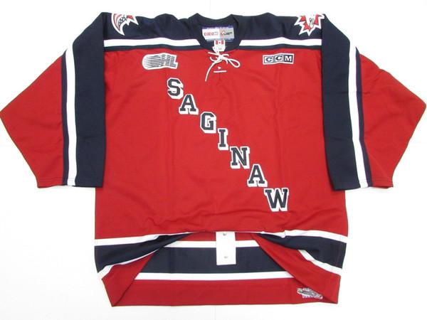 Cheap custom SAGINAW SPIRIT OHL PRO CCM HOCKEY JERSEY stitch add any number any name Mens Hockey Jersey XS-5XL
