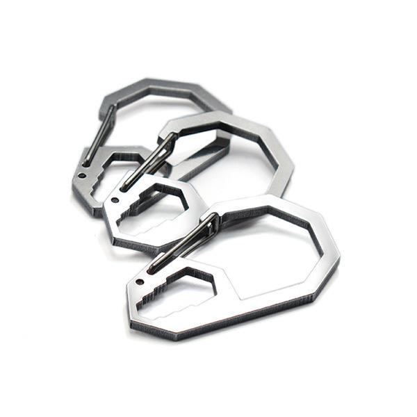 Outdoor EDC Tool Stainless Steel Carabiner Snap Spring Clips Hook - Camping Hiking Survival Keychain Wrench Paracord Buckles