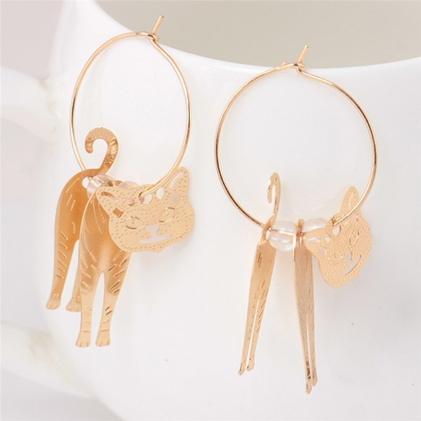 1Pair Cute Cat Earrings dangle vintage Pendant big Earring statement jewelry For Women trendy large circle earing party jewelry