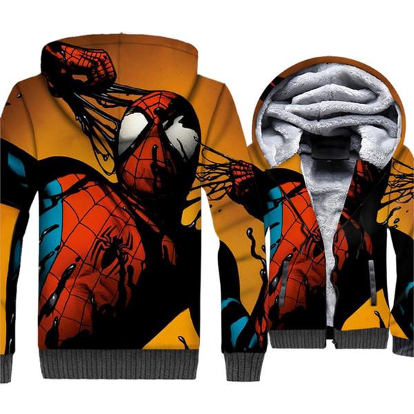 Spider Man Jacket Men Cool Hoodie Movie 3D Print Hooded Sweatshirt Winter Thick Fleece Warm Coat Funny Sportswear 5XL