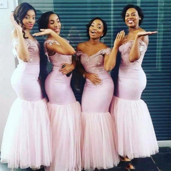 Blush rosa sirena vestidos de dama de honor de Sudáfrica apliques de encaje hombro de la dama de honor vestidos para la boda Tulle piso de longitud