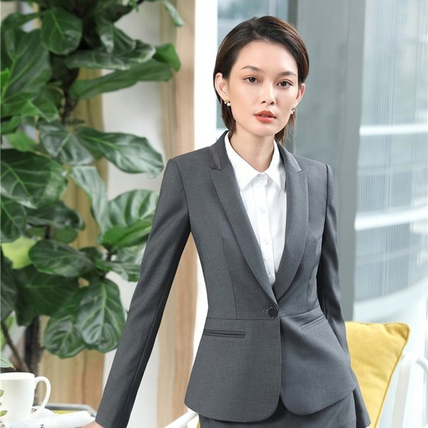 High Quality Fabric Uniform Designs Jackets Business Blazers Coat For Women Ladies Female Outwear Tops Clothes EleGrey