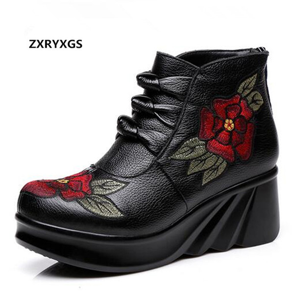 ZXRYXGS Brand Shoes Woman Booties Embroidered Cowhide Leather Boots for Women Fashion Shoes 2018 New Women Boots Wedding