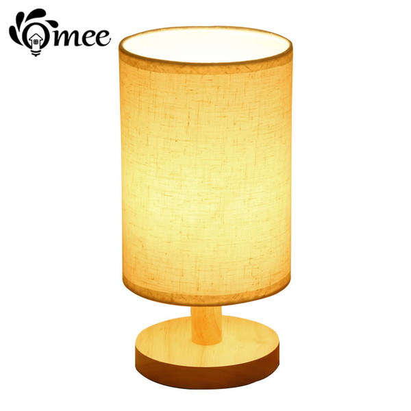 Rustic Wood Table Lamp Linen lampshade E27 Holder LED Bulb Creative Desk Lamps , Festive Bedside Home Lighting Fixtures Light