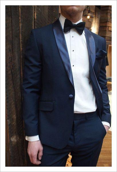 Custom Formal Tuxedo Navy Blue Suit Men Blazer Wedding Suit for Men Black Shawl Lapel Satin One Button Business 2 Piece DEMO6634