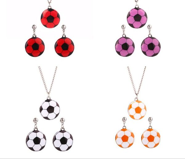 European and American jewelry new fashion Football Pendant Necklace earrings accessories set