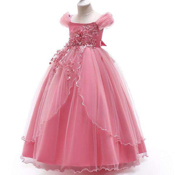 4-15Y Kids Girls Long Lace Flower Party elegant Ball Gown Prom Dresses Kid Girl Princess Wedding Children First Communion Dress 2019
