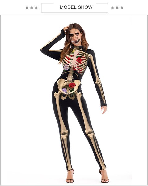 Wholesale High Quality 2018 New Sexy lady Hallowmas Cosplay Party Women 's Skull Jumpsuit Batman Costumes Ypf178