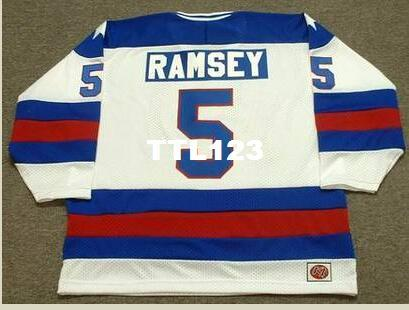 Mens #5 MIKE RAMSEY 1980 USA Olympic Retro Away Hockey Jersey or custom any name or number retro Jersey
