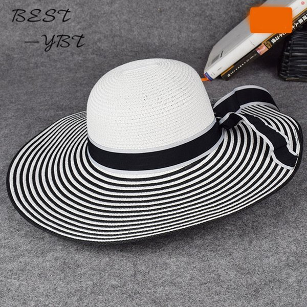 2018 New fashio version Black and white stripes summer beach cap large brimmed straw sun bucket hat visor summer hats for women