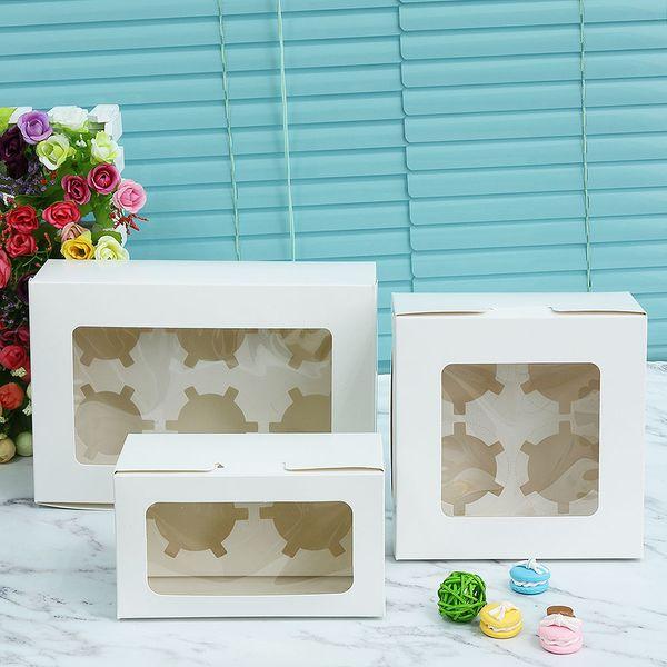 1 caja de empaquetado de la torta de la galleta del papel de Kraft con la ventana plástica del PVC para las fuentes del partido del regalo de Candy New Kids