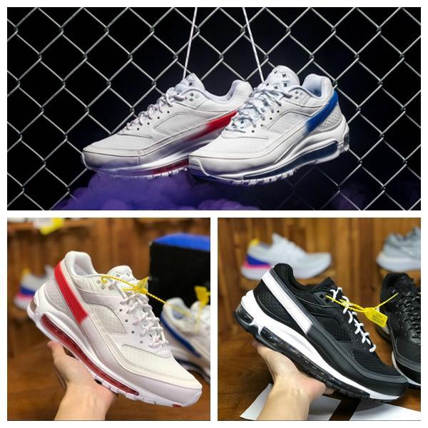tienda de liquidación gran venta estilo de moda Compre 2018 Nueva Marca Nike Air Max 97 BW X Skepta Londres Bronce Blanco  Rojo Azul Negro Zapatillas De Running 97s Hombres AO2113 100 Zapatillas De  ...