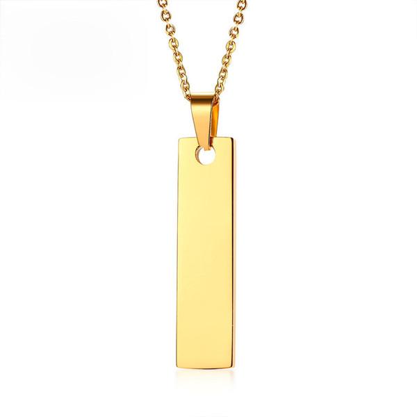 Goldfarbe Bar Halskette Anhänger Geschenke für sie Edelstahl personalisierte Namen Datum Liebe Worte Freundschaft Halsketten