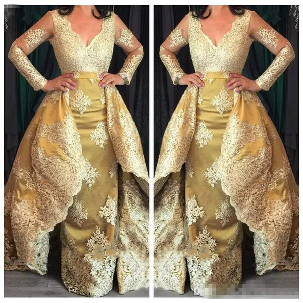 2018 Modest V-Neck Long Sleeves Lace Appliques Sheath Evening Gowns With Detachable Train Custom Gold Satin Dubai Prom Formal Party Dresses