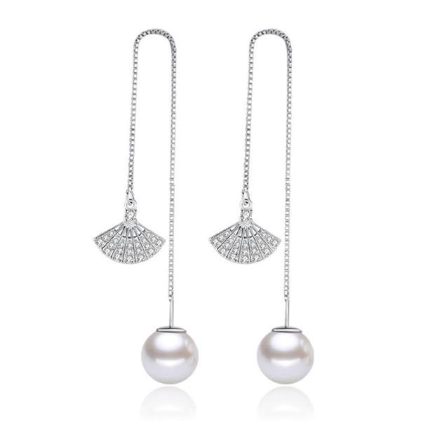 Fashion Tassel Drop Earrings For Women Cubic Zirconia Simulated Pearl Geometric Ear Line Dangle Statement Long Jewelry WHEG42