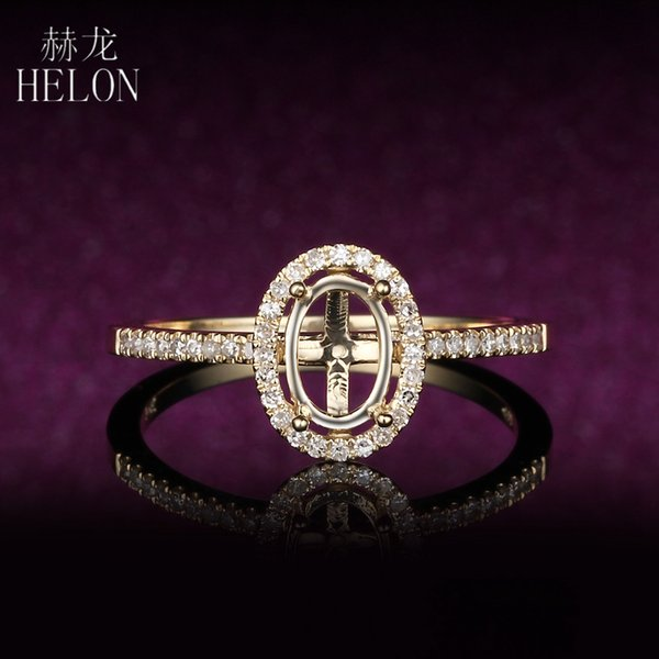 helon oval 7x5mm semi mount wedding ring solid 14k yellow gold fine 0.2ct diamond engagement halo fine ring women trendy jewelry, Golden;silver