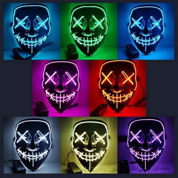 10styles Halloween El Wire Cold Light Line Ghost Horror Mask LED Party Cosplay Masquerade Street Dance Halloween Rave Toy 12pcs AAA1066