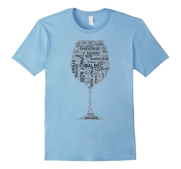 Red Wine Glass Word Art of Wine Types Black Text T-shirt